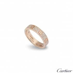 Cartier Rose Gold Pave Diamond Love Ring Size 49 B4085800